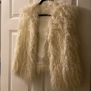 Shaggy white vest from Nordstrom